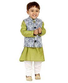 Kidology Mughal Jacket & Pathani Kurta Pajama Set - Lime & Navy