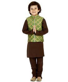 Kidology Jaal Vest & Kurta Pajama Set - Brown & Green