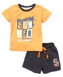Palm Tree Half Sleeves T-Shirt and Shorts Set - Orange Grey