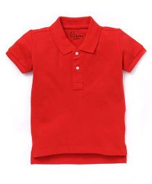 Gj Baby Half Sleeves Polo Neck Tee - Red