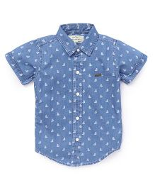 Palm Tree Half Sleeves Printed Shirt - Blue