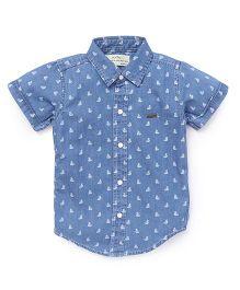 Palm Tree Half Sleeves Printed Shirt - Blue