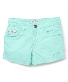 Palm Tree Shorts Mermaid Print - Aqua