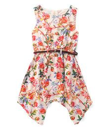 Gini & Jony Sleeveless Frock Floral Print - Multi Color
