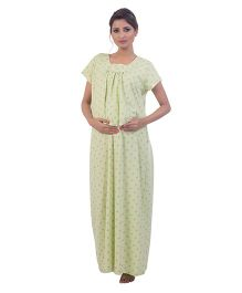 Kriti Half Sleeves Nighty Floral Printed - Lime Green