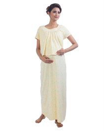 Kriti Short Sleeves Printed Nursing Maternity Nighty - Yellow