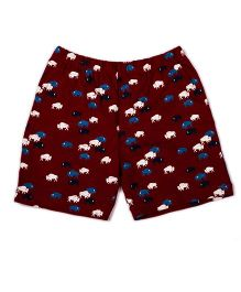 Pikaboo Shorts Bison Print - Maroon