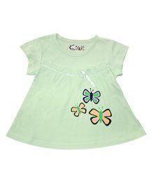 Kiwi Short Sleeves Frock Butterfly Print - Green