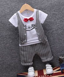 Petite Kids Tee With Mock Style Waistcoat & Capri Set - Grey