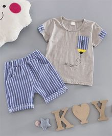 Petite Kids Pencil Print T-Shirt & Shorts Set - Grey & Blue
