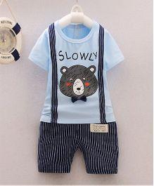 Petite Kids Mock Suspender Tee & Shorts Set - Blue & Black