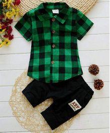 Petite Kids Checks Shirt & Shorts Set - Green & Black