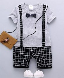 Petite Kids Mock Suspender Tee & Shorts Set - Grey