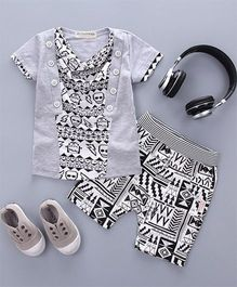 Petite Kids Robot Design Tee & Shorts Set - Grey & Black