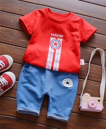 Petite Kids Boys Tee & Shorts Set - Red & Blue