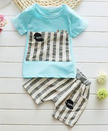 Petite Kids Cap Design Tee & Shorts Set - Blue