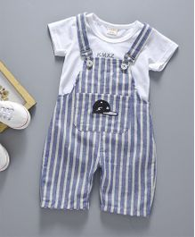 Petite Kids T-Shirt & Striped Dungaree Set - Grey & White