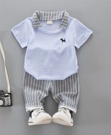 Petite Kids Collar T-Shirt & Capri Set - Blue & Grey