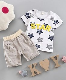 Petite Kids Star Print Tee & Shorts Set - White