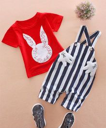 Petite Kids Bunny Print Tee With Dungaree - Red & Blue