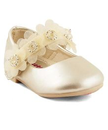 Kittens Shoes Ballerinas With Floral Appliques - Golden