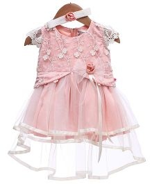 Rose Couture Net Party Dress With Headband - Peach & White