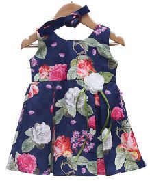 Rose Couture Sleeveless Floral Dress With Headband - Navy Blue