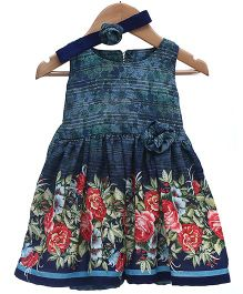 Rose Couture Sleeveless Floral Dress With Headband - Multicolour