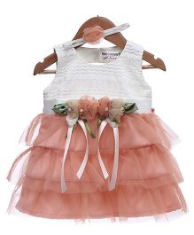 Rose Couture 3 Tiered Net Party Dress With Headband - Peach