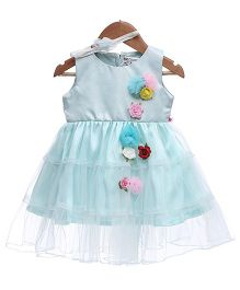 Rose Couture Tiered Net 3 D Flower Dress With Headband - Baby Blue