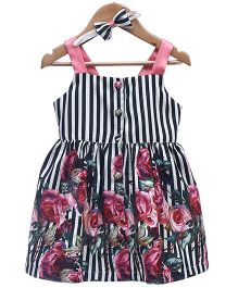 Rose Couture Strappy Floral & Stripe Dress With Headband - Multicolour