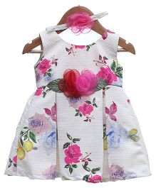 Rose Couture Floral Box Pleated Dress With Headband - Off White