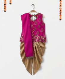 Babyhug Sleeveless Kurti And Dhoti Pajama With Dupatta - Dark Pink Golden