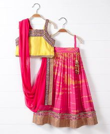 Babyhug Singlet Choli And Lehenga With Dupatta Studded Detailing - Yellow Dark Pink