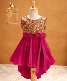 Babyhug Sleeveless Party Wear Asymmetrical Frock Flower Applique - Pink