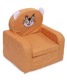 Lovely Smart Kids Cat Print Sofa - Brown & White