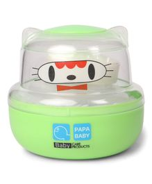 Papa Baby Powder Puff Kitty Face Design - Green