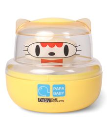 Papa Baby Powder Puff Kitty Face Design - Yellow