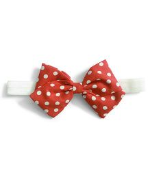 Knotty Ribbons Polka Dots Bow Hairband - Red
