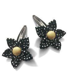 Knotty Ribbons Polka Dots Hair Clip - Black