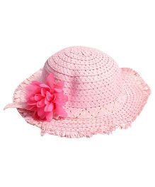 Miss Diva Stylish Hat With Flower Applique - Baby Pink
