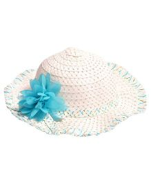 Miss Diva Stylish Hat With Flower Applique - White & Blue