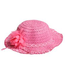 Miss Diva Stylish Hat With Flower Applique - Pink