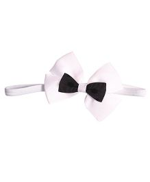 Miss Diva Elegant Double Bow Soft Headband - White