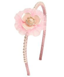 Miss Diva Pearl Beaded Lotus Hairband - Baby Pink