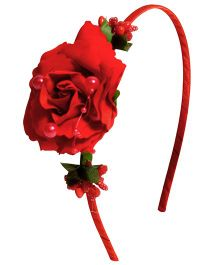 Miss Diva Elegant Rose Hairband - Red
