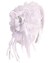 Miss Diva Beautiful Big Net Rose Hairband - White