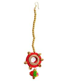 Miss Diva Maang Teeka With Tiny Bells & Pom Pom - Red