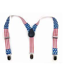 Miss Diva Stars & Stripe Print Suspenders - White Blue & Red