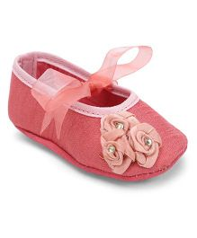 Barbie Booties Floral Applique & Ribbon Detailing - Pink